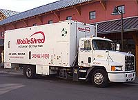 Mobile Shred Inc. mobile shredding truck - we come to your office to shred your sensitive documents conveniently and efficiently